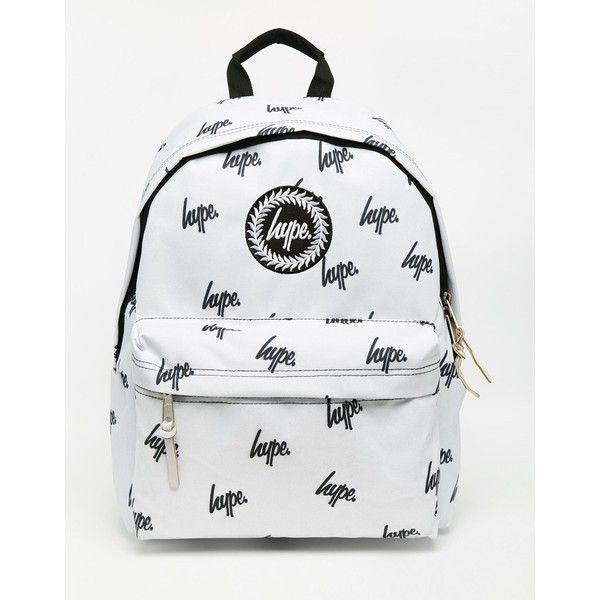 a10995692cdc Hype Backpack in White With Black Printed Logo ( 43) ❤ liked on Polyvore  featuring bags