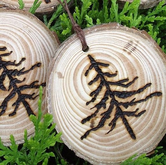 5 Rustic Wood Burned Pine Tree Branch Gift by ARemarkYouMade