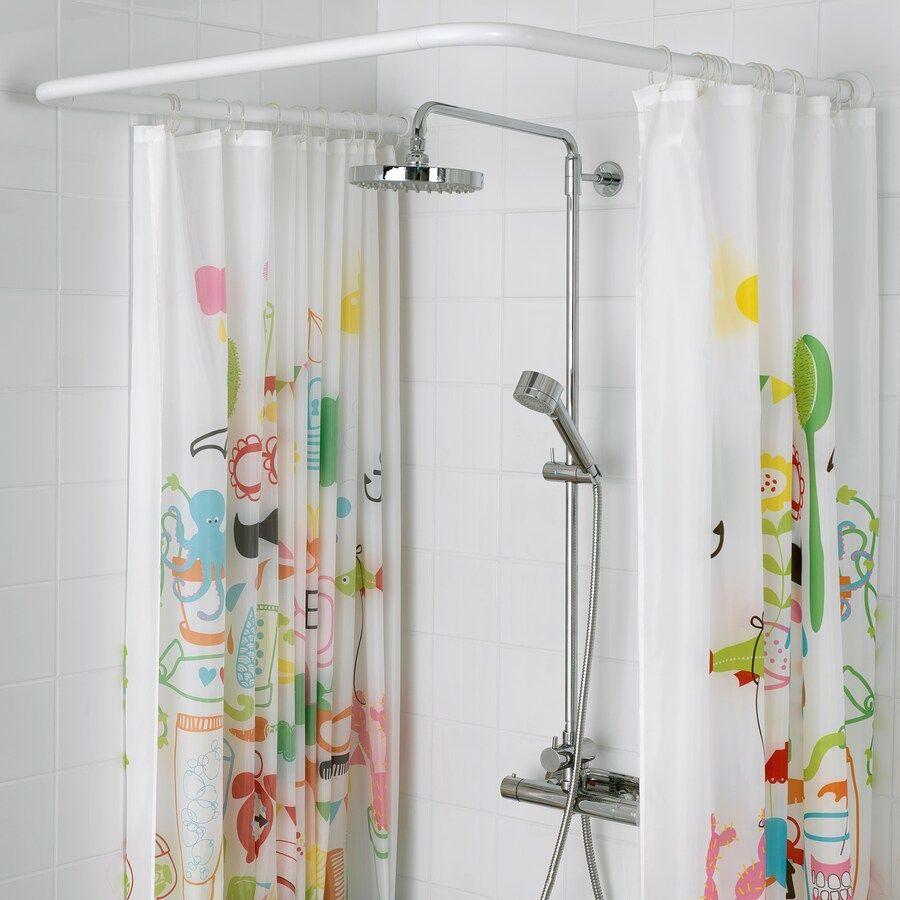 Vikarn Duschvorhangstange Weiss Ikea Deutschland In 2020 Shower Curtain Rods Curtain Rods Shower Rod