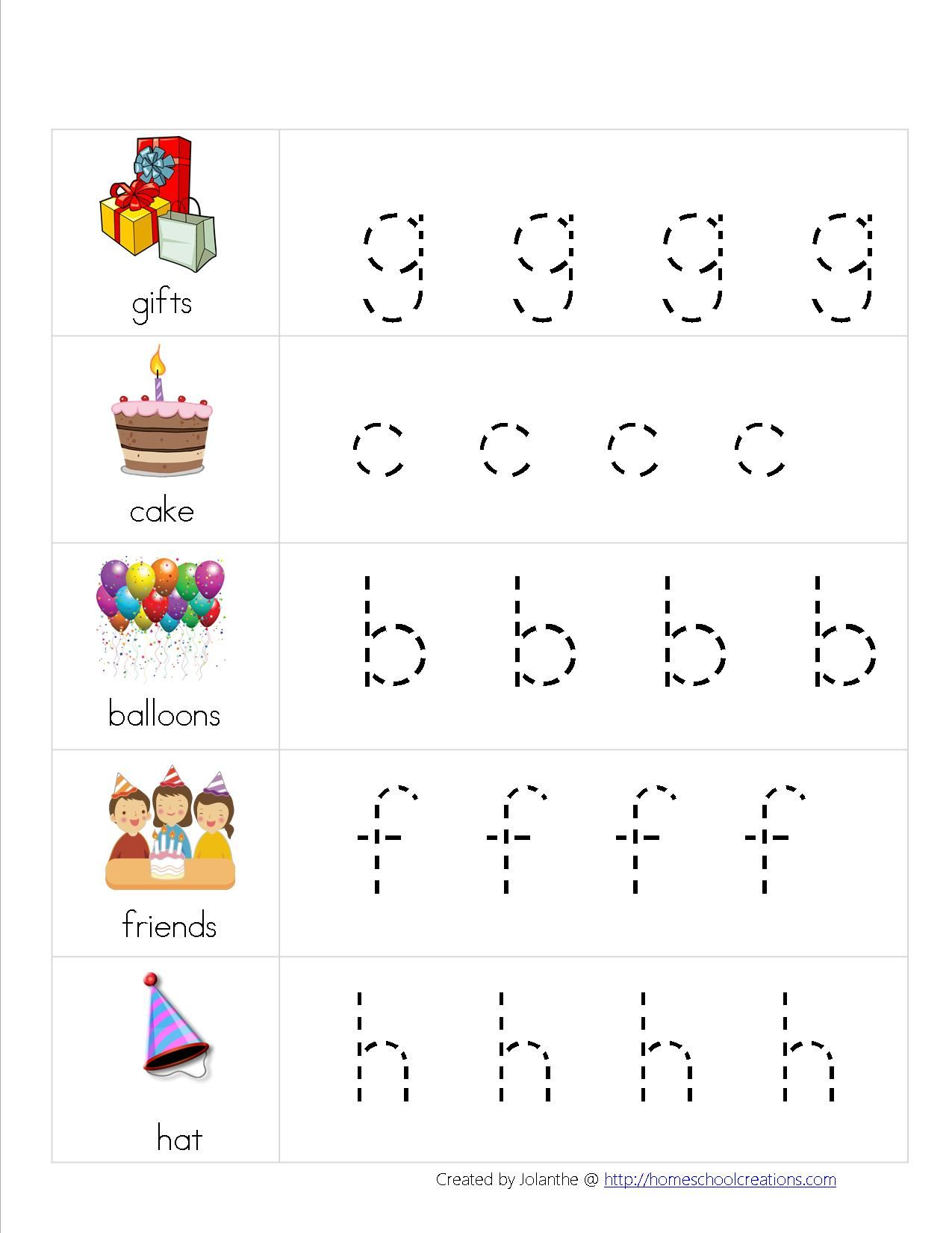 Day 54 Free Birthday Preschool Pack Tracing Letters Page