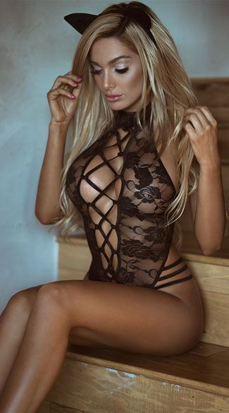 b7a0ca52f Ooze purrfection in this Vixen Kitten lingerie costume featuring a black  lace teddy with a high