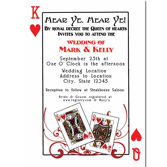 Invitation For King And Queen Of Hearts