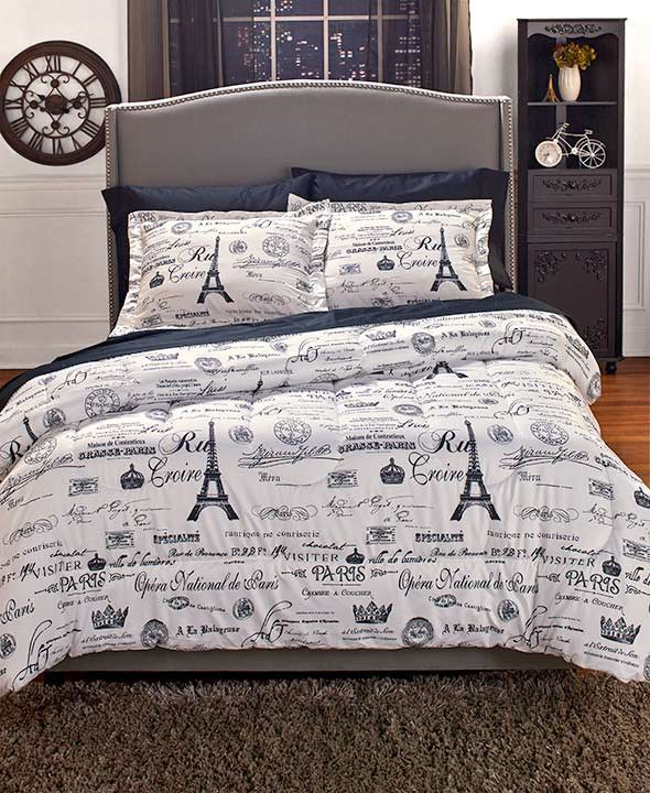 Comforter Set Paris Themed Eiffel Tower Parisian Black White Newspaper Print Boudoir