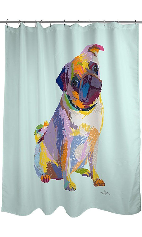 Thumbprintz Shower Curtain Pug Sketch Best Price Pugs Curtains