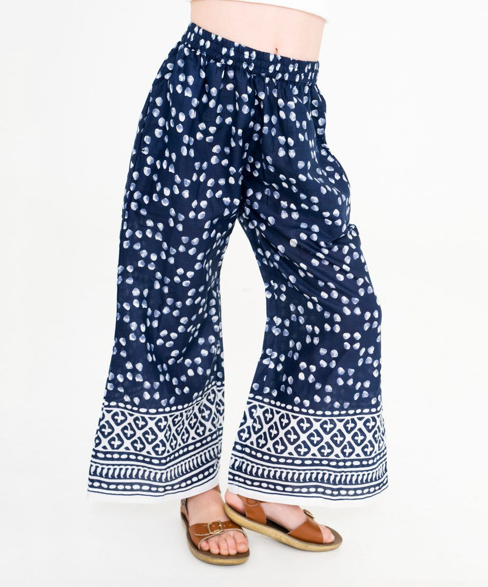 Love this Navy & White Geometric Wide-Leg Pants - Toddler & Girls by Yo Baby on #zulily! #zulilyfinds