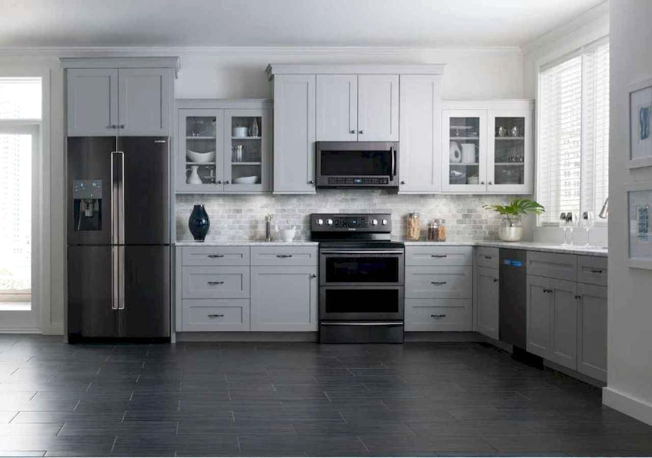 Best Apartment Kitchen Rental Decor Ideas And Makeover Frugal Living Black Appliances Kitchen Kitchen Design Grey Kitchen Cabinets