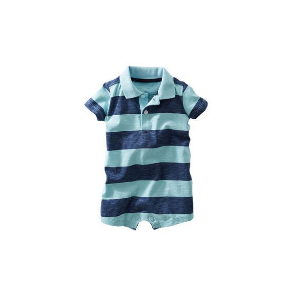 Polo-Style Striped Romper OshKosh B'gosh ($14) ❤ liked on Polyvore featuring baby, baby boy and baby stuff