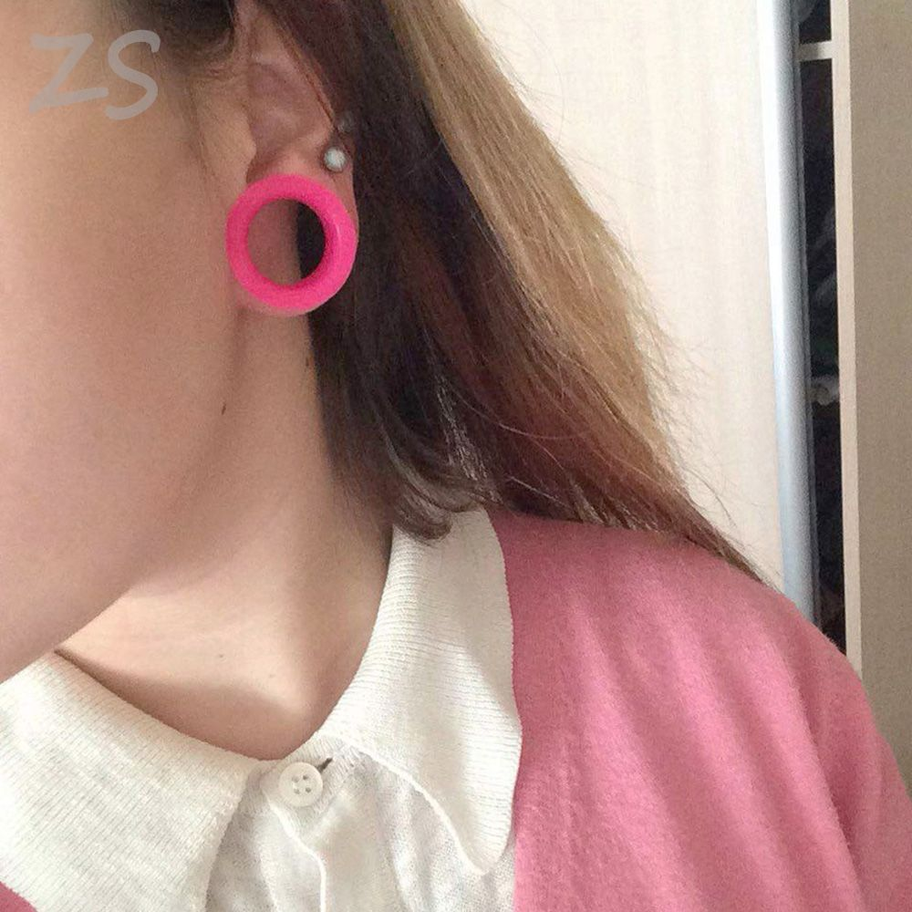 Silicone Flesh Tunnels Plugs Double Flare Stretching Kit Earlobe Expander