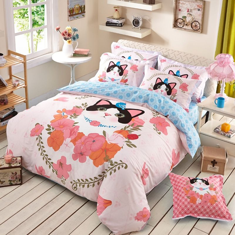 Pink Peach Black And Blue Cat Pattern Animal And Flower