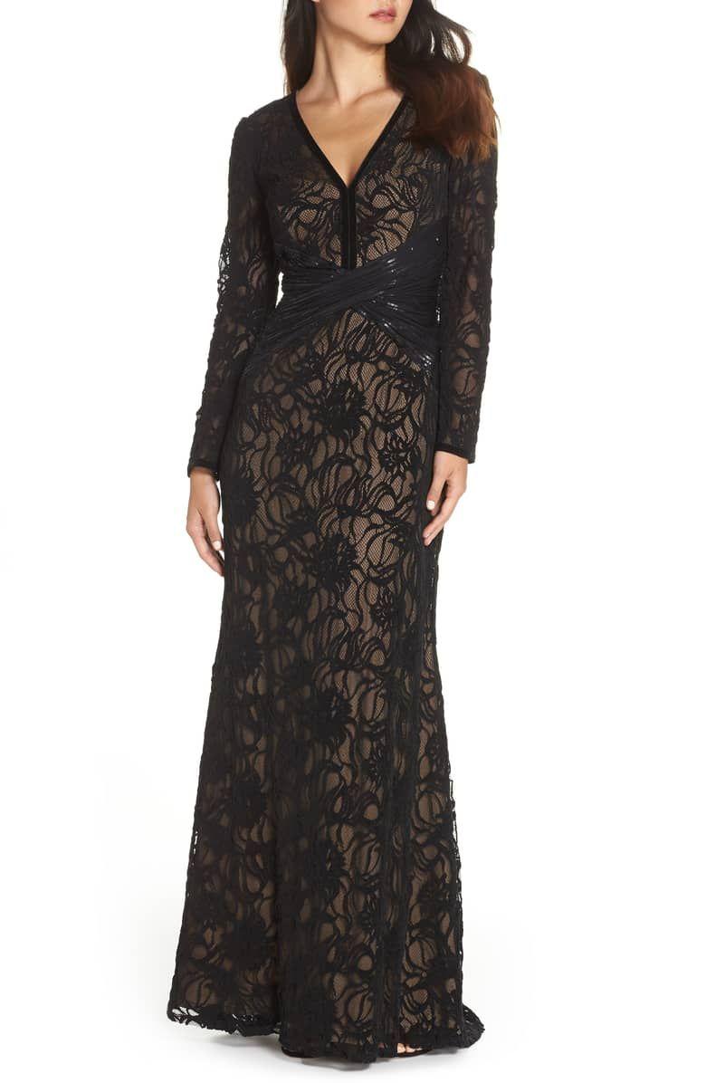 Tadashi Shoji Burnout Lace Gown Nordstrom Black Lace Midi Dress Lace Gown Lace Midi Dress [ 1196 x 780 Pixel ]