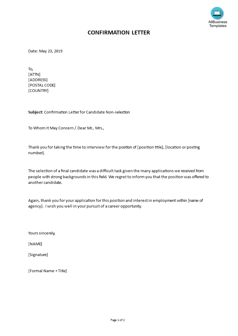 How To Write A Confirmation Letter An Easy Way To Start Is To Download This Sample Confirmation Letter For Cand Confirmation Letter Lettering Letter Templates