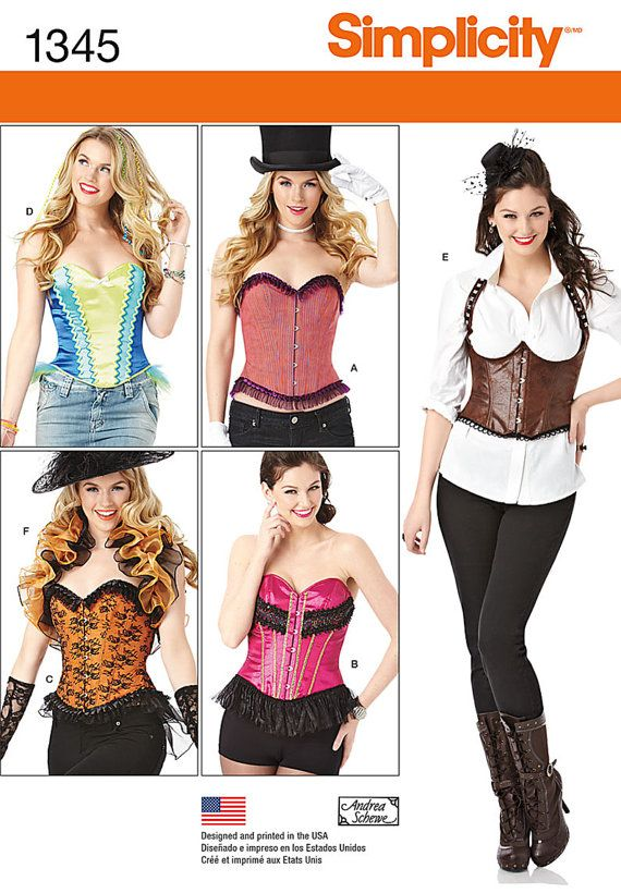 Simplicity 1345 Victorian, Steampunk ,Gothic pattern-Corset and ...