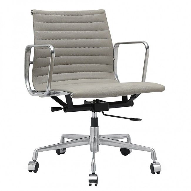 Eames Office Chair Reproduction. Grey Leather Give This Maxwell Blake Eames  Office Chair Replica Added