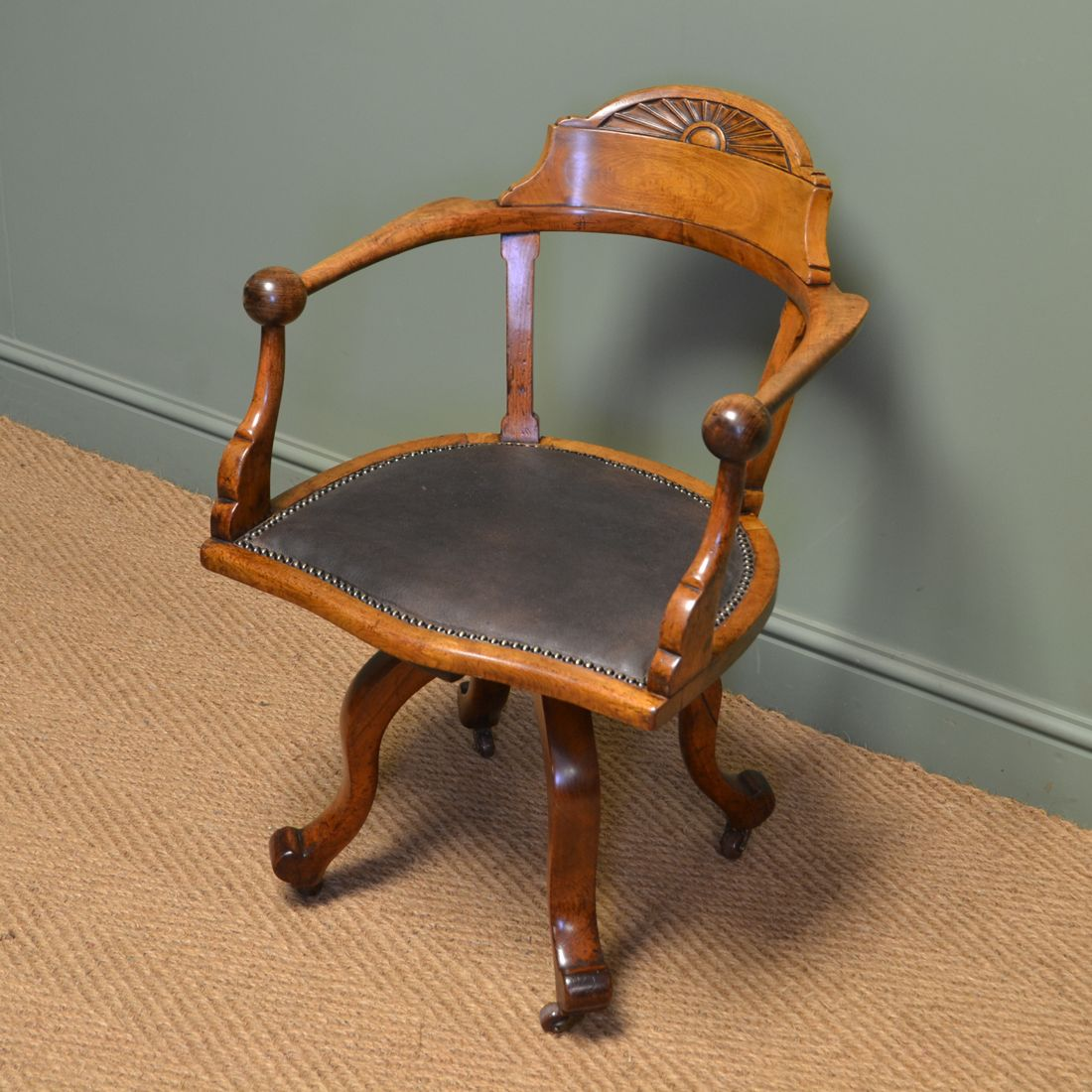 Quality Victorian Walnut Swivel Antique Office Chair Desk Chair Antique Desk Chair Antique Chairs Chair