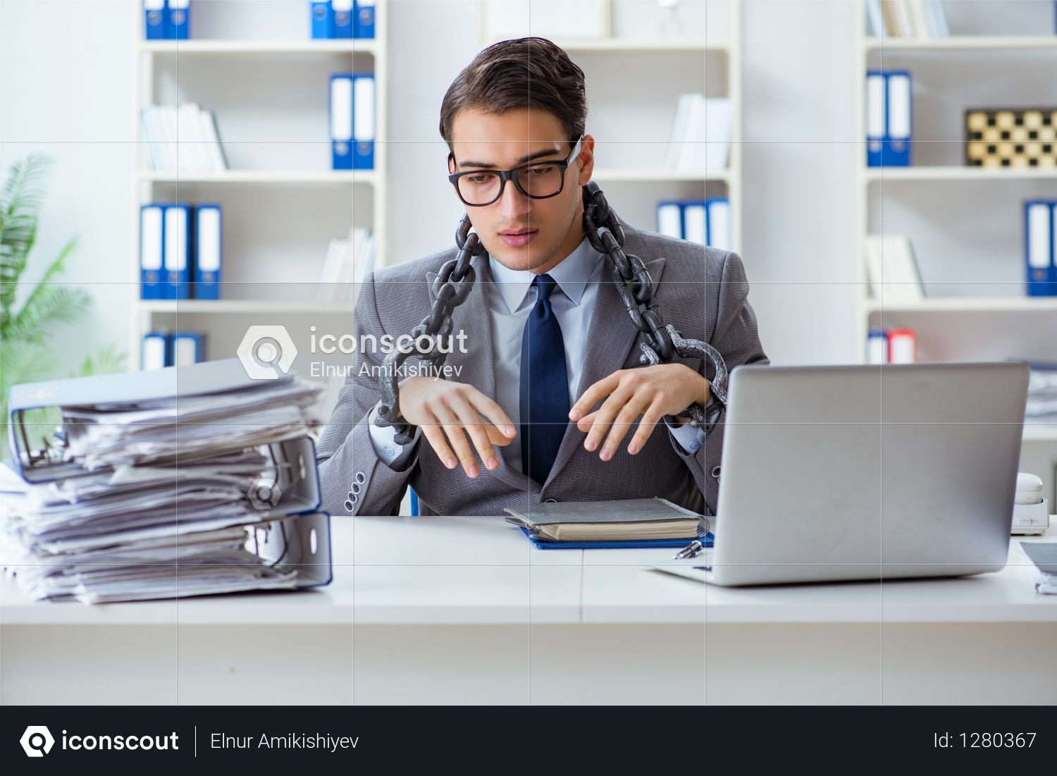 Premium Busy Employee Chained To His Office Desk Photo Download In Png Jpg Format Office Desk Photo Desk