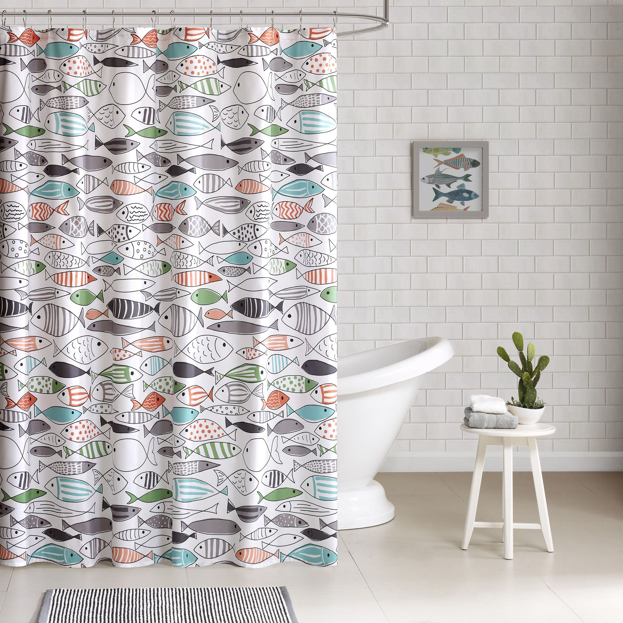 Pics photos children bathroom themes shower curtains fish animals - Hipstyle Madfish Cotton Printed Shower Curtain By Hipstyle Fish Swimming Bathroom Stuffbathroom Ideasbathroom