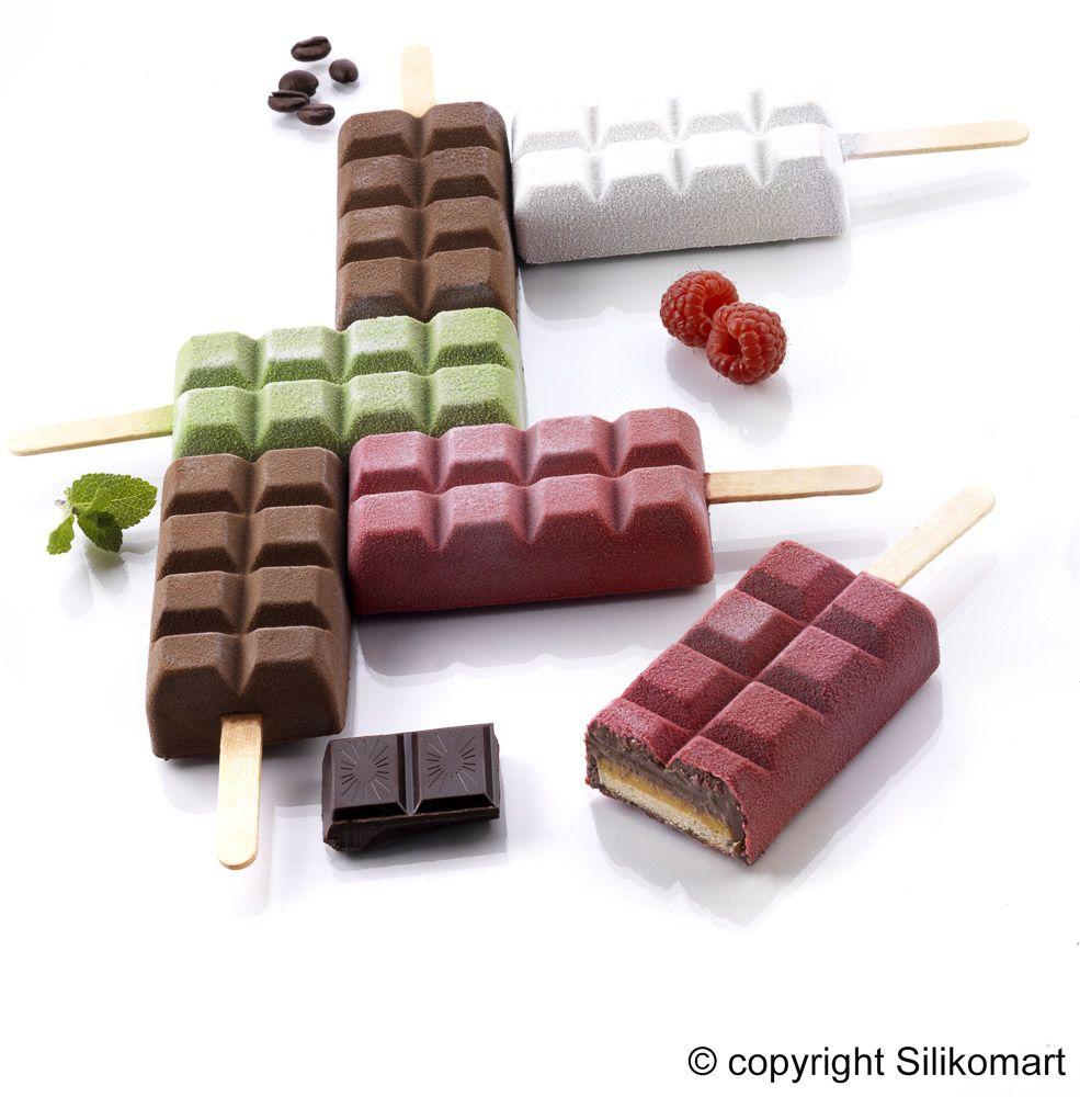 moldes para polos helados y bizcochos con forma de tableta de chocolate. Aptos para horno y congelador podrás crear polos de chocolate, helado, bizcocho..