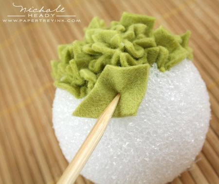 Make a little felt ball as an ornament or pomander to hang for Crafts with styrofoam balls for kids