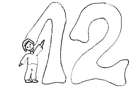 Número 12 Doce Dibujos Niños Y Pintar