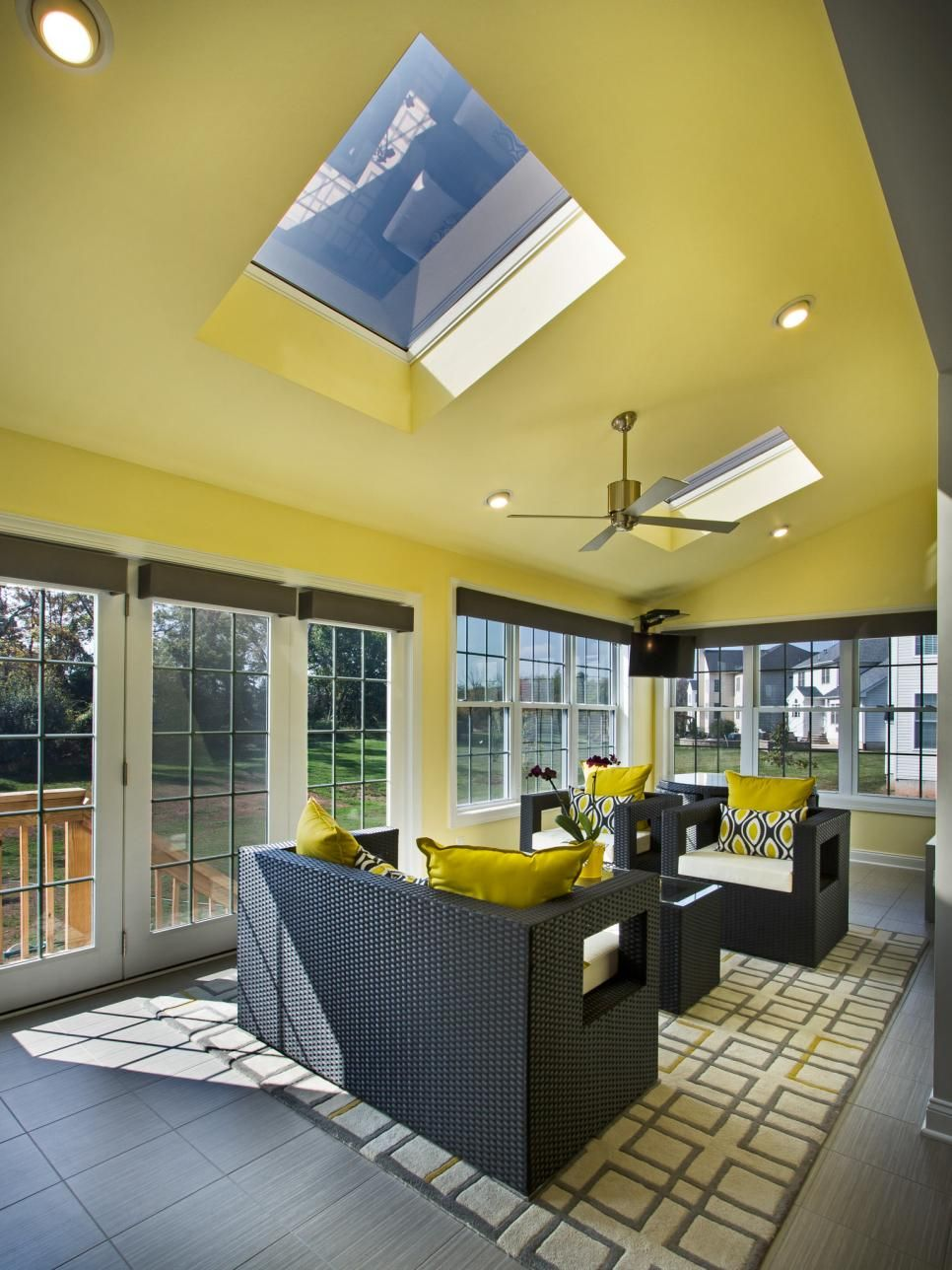 Canary Yellow Paint Covers The Walls And The Sloping