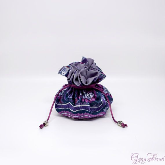 Drawstring Jewelry Pouch Purple Paisley Satin Fabric Travel Case