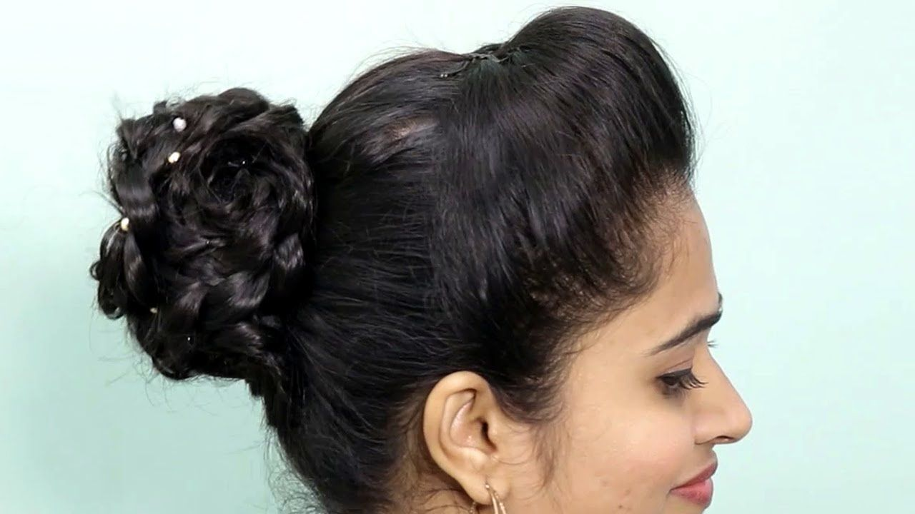 Easy Bun Hairstyle For Saree Anarkali Lehenga Party Updo For Medium Bun Hairstyles Easy Bun Hairstyles Medium Long Hair