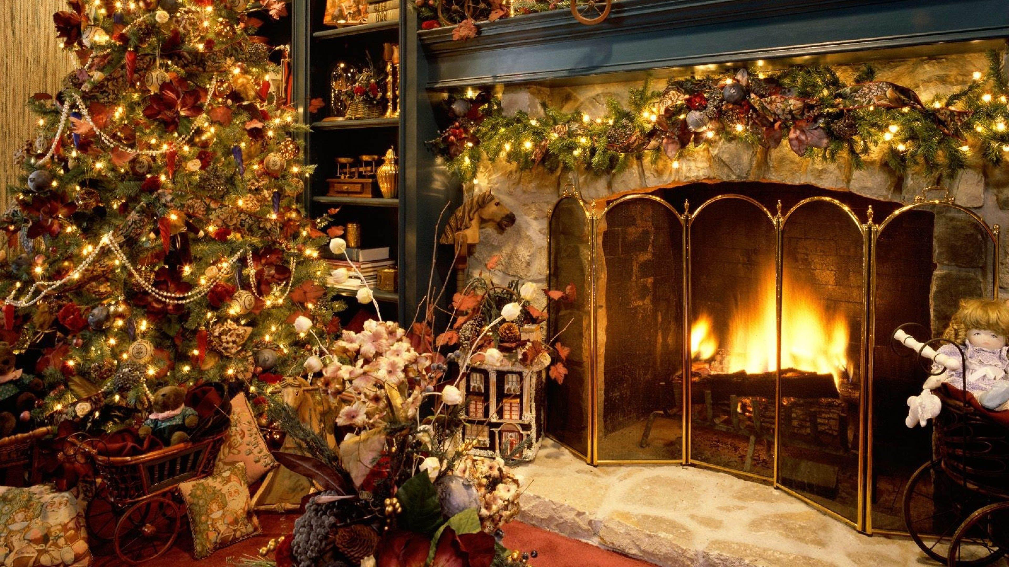 Christmas Fireplace 3840x2160 Wallpaper Christmas Tree And Fireplace Christmas Fireplace Beautiful Christmas Trees