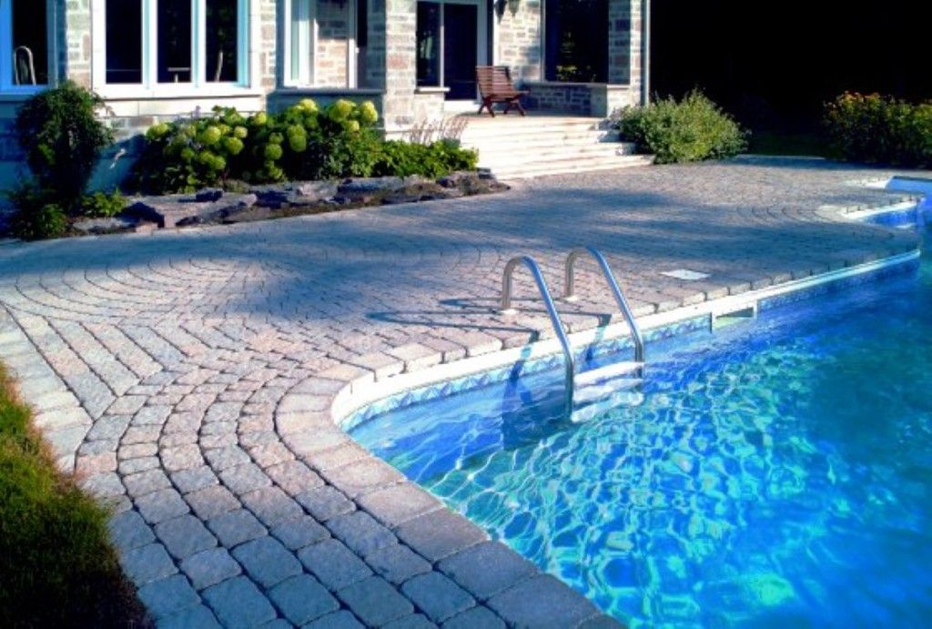 Swimming Pool Enchanting Modern Private With Stainless Handle And Stone Deck Design Ideas