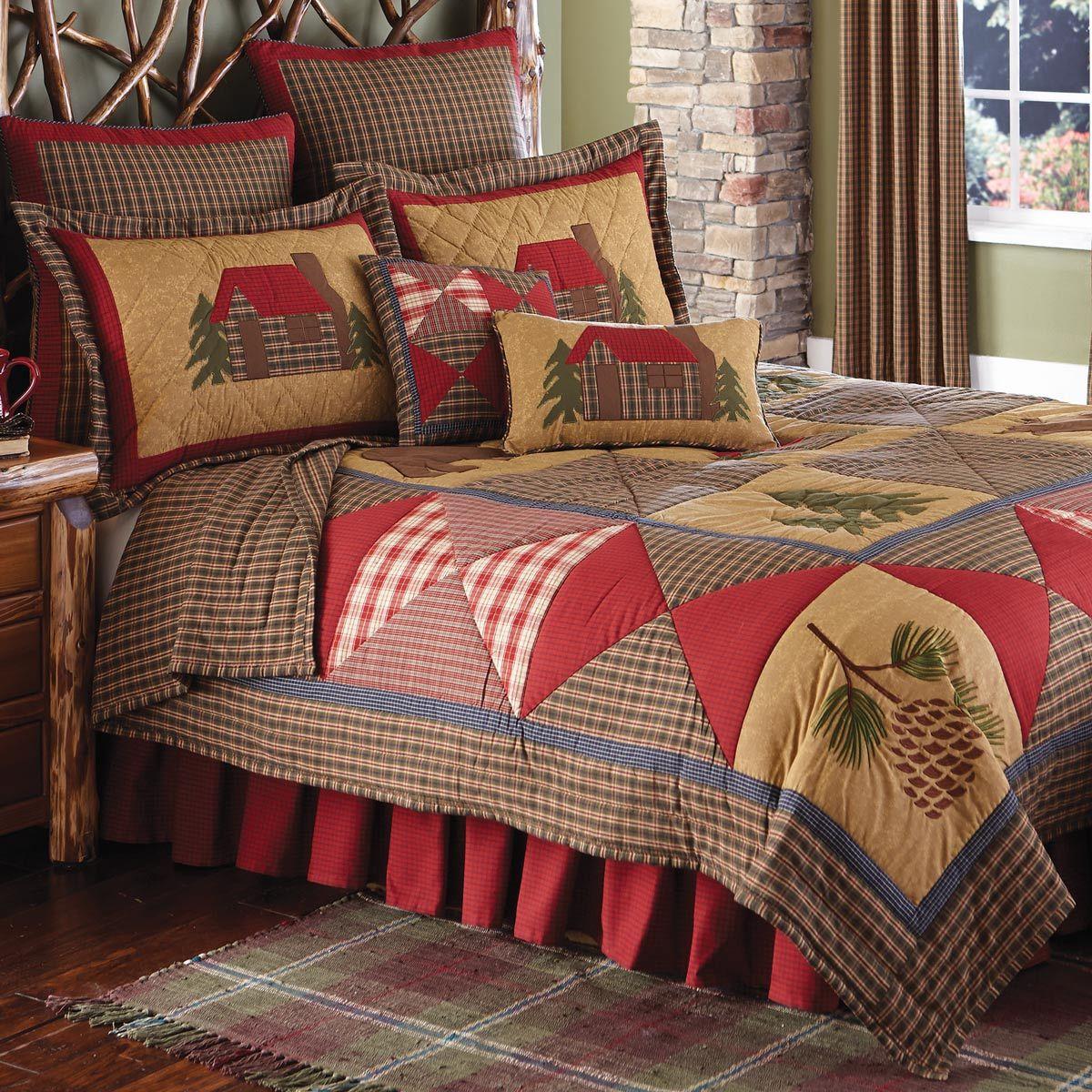 Cozy Cabin Quilt Queen Rustic bedding, Bed design