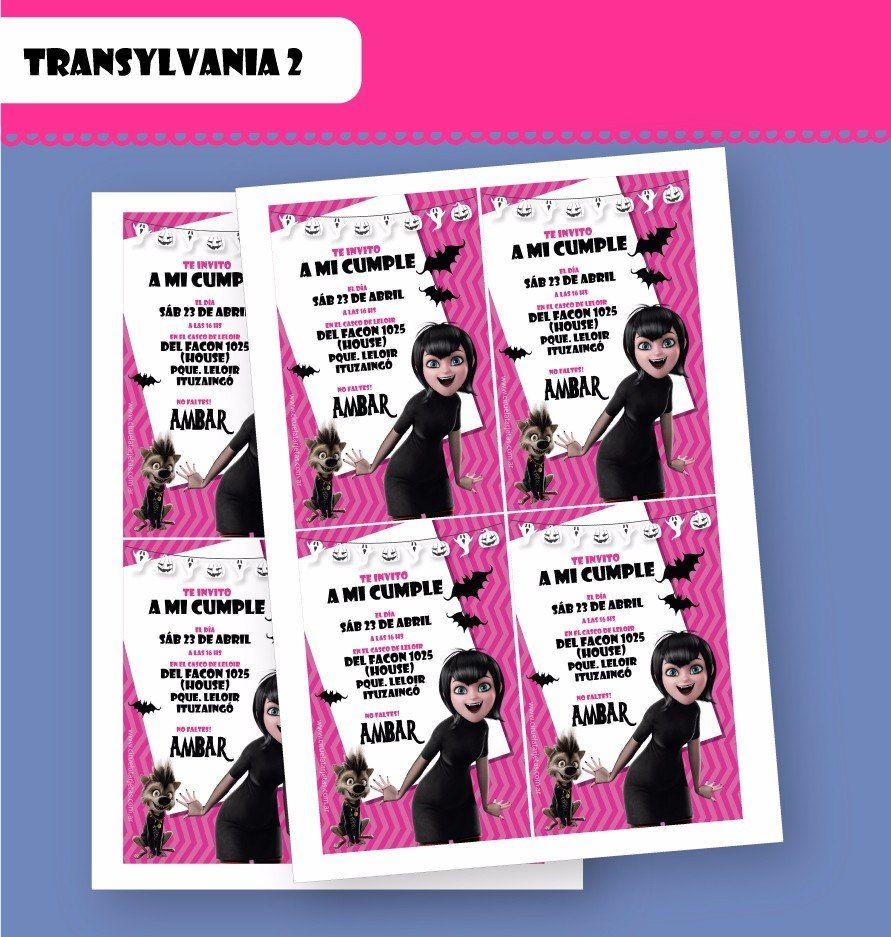 Tarjetas De Invitación Hotel Transylvania Cumpleaños