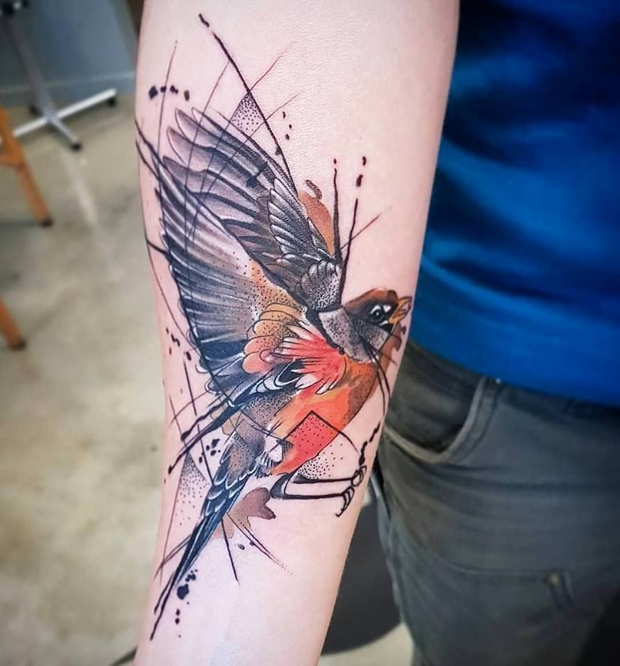 Girls Abstract Watercolor Bird Tattoo From Fede Soular Tattoo Christchurch Nz Tattoos New Zealand Tattoo Robin Tattoo