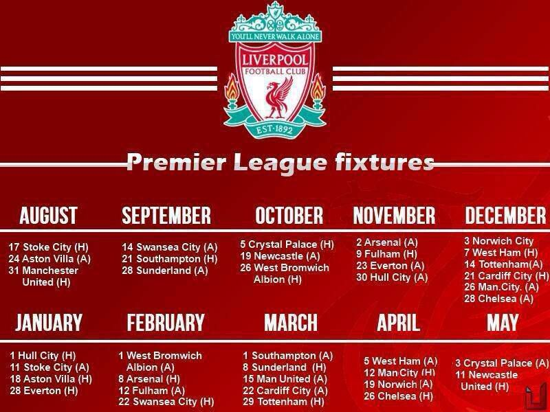 The Schedule Of The Year Lfc Regained Its Position As A Top 4 Team Liverpool Stoke City Swansea City