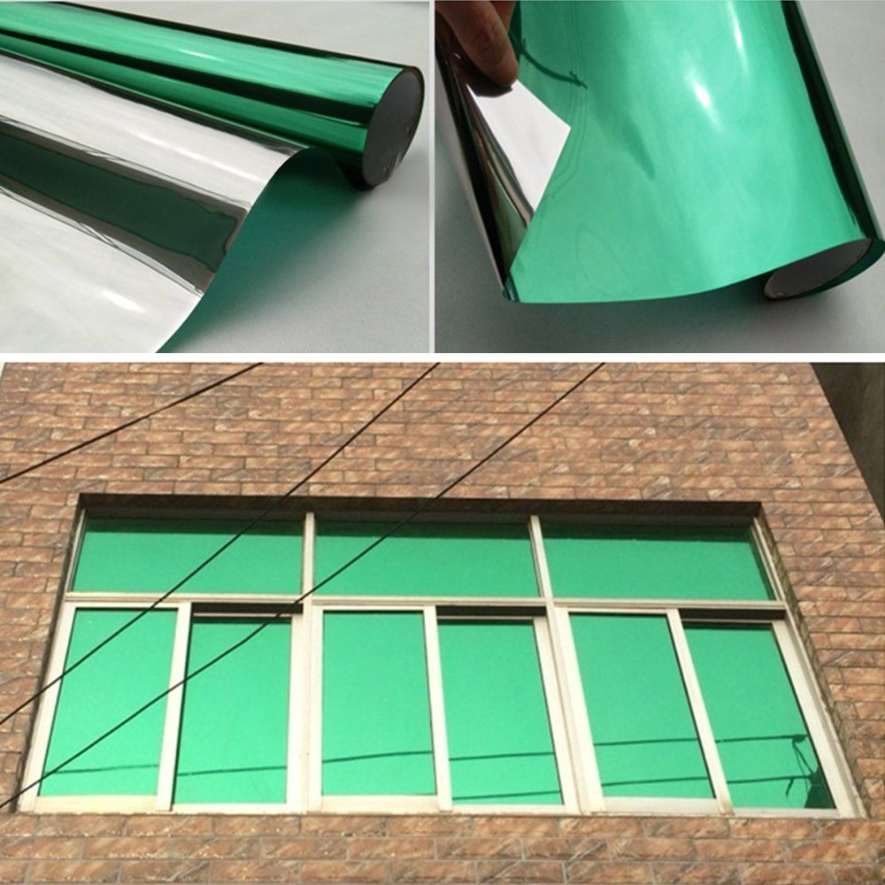 Yazi self adhesive diy green one way mirror finish vinyl daytime privacy window wrap film 20inch by 15ft click image to review more details