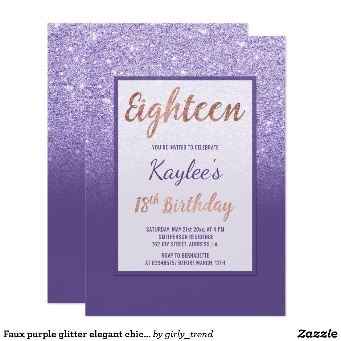 Faux purple glitter elegant chic 18th Birthday Invitation