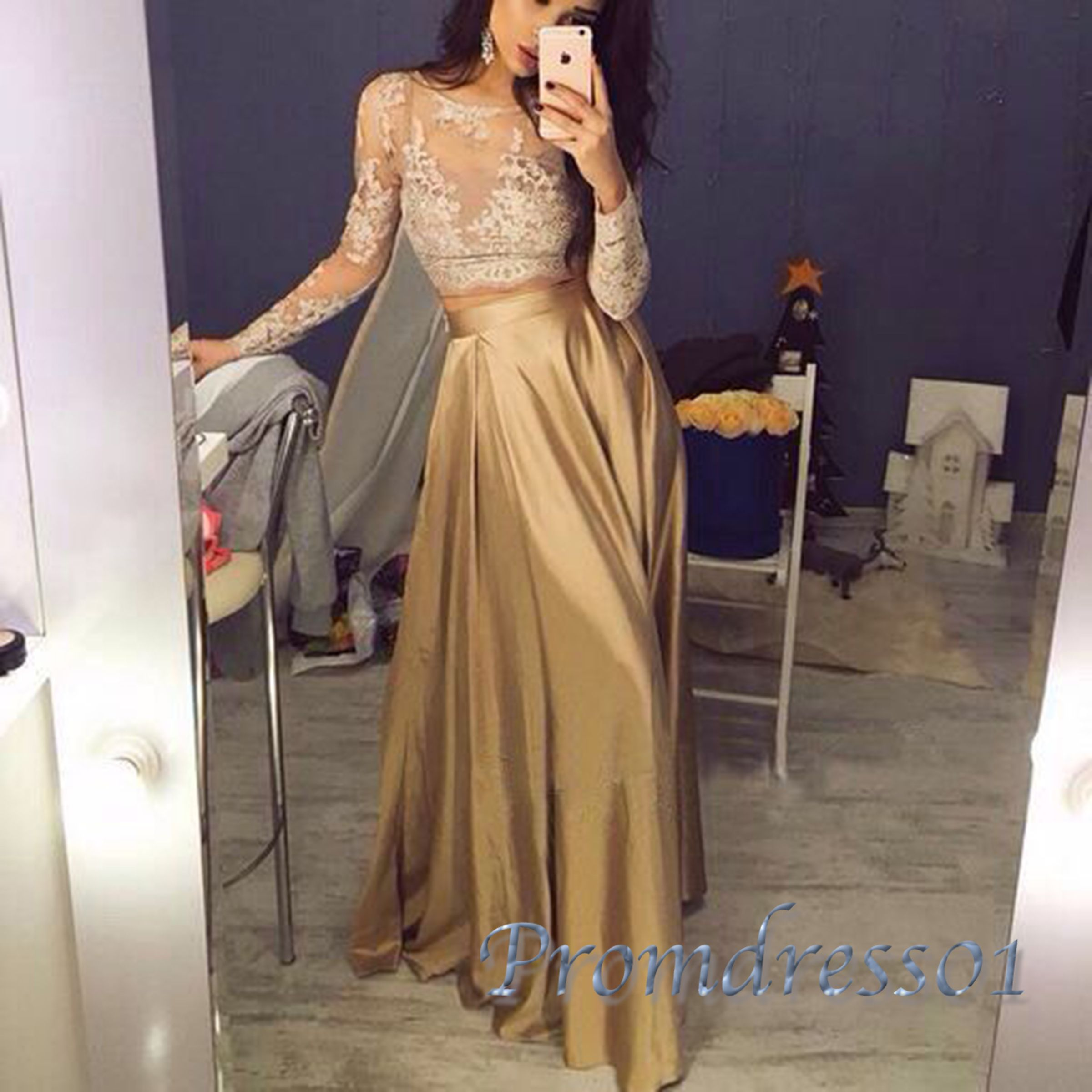 Elegant see-through lace top gold satin long prom dress with sleeves ...