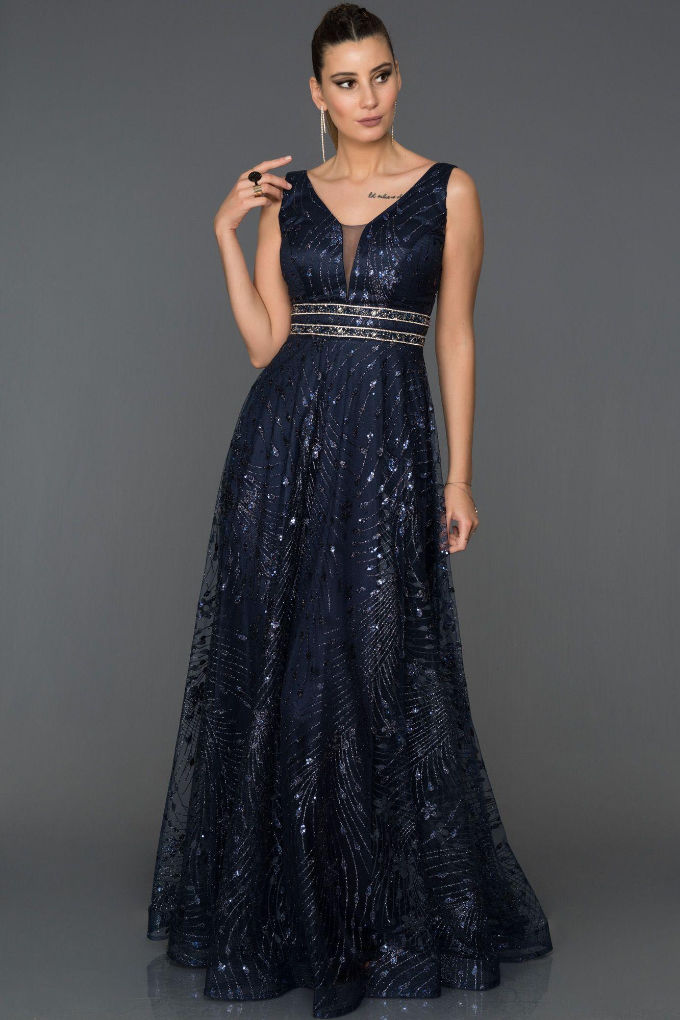 Lacivert Payetli Uzun Abiye Abu150 Elbiseler Moda Stilleri The Dress