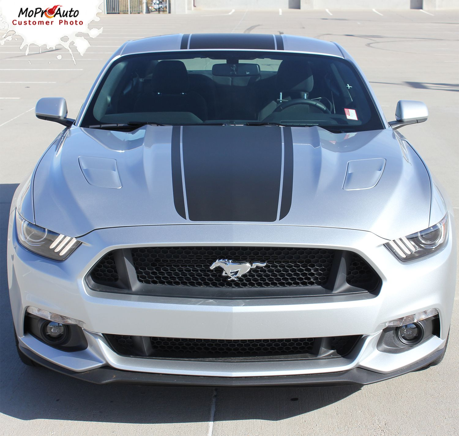 Median Ford Mustang Hood Stripes Wide Center Hood Decals