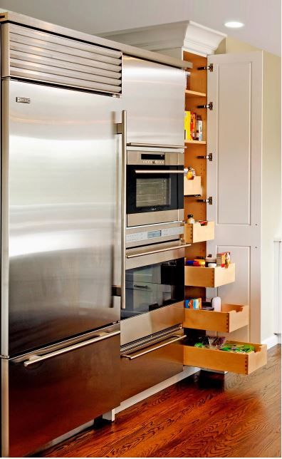Double Oven Next To Fridge Next To Narrow Floor To