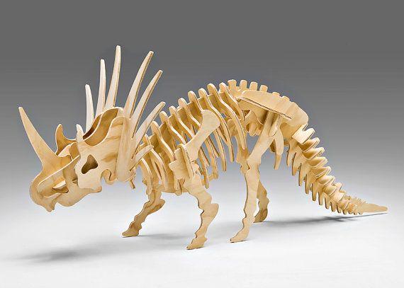 Bag Of Bones Large Styracosaurus Large Scale 3 D Wooden Dinosaur