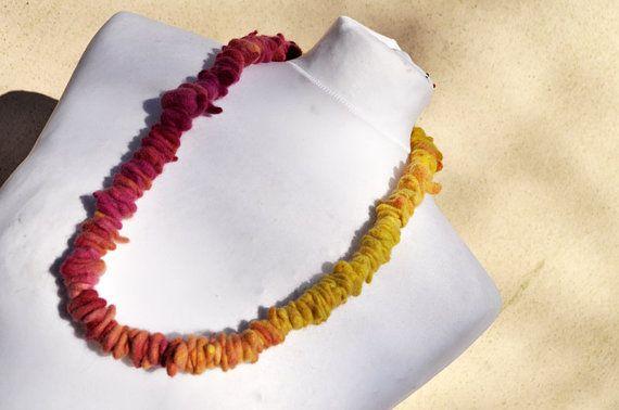 Felted necklace fibre art gift yellow pink от AleksandrabWiniarska