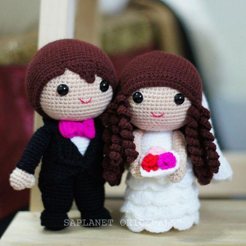 Amigurumi bride and groom crochet wedding dolls. | Knitted wedding ... | 500x500
