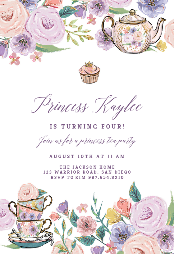 Princess Tea Party Birthday Invitation Template Free Tea Party Invitations Tea Party Baby Shower Invitations Princess Tea Party