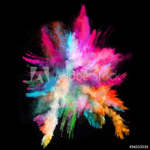 Launched colorful powder on black background Stock Photo