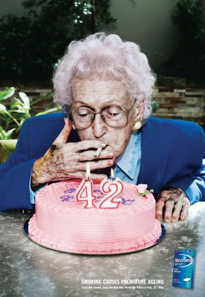 If I was a smoker, I would definitely quit after seeing this ad. The image is very eye-catching and goes along with the message very nicely. The color/editing is very nice because you can see all the wrinkles and spots on her skin that come with old age. Also the pink cake it a nice contrast against the blue suit.