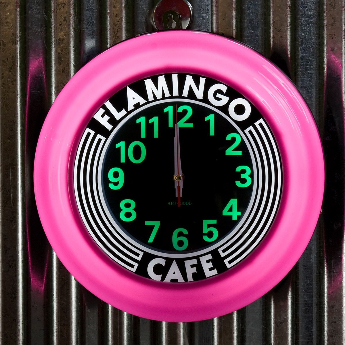 Flamingo Cafe Pink Lighted Kitchen Wall Clock Kitchen