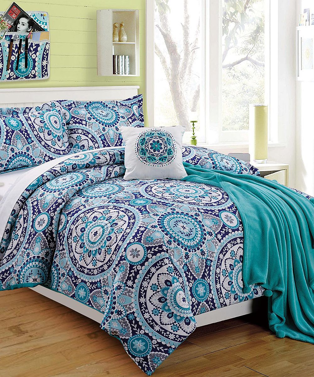 Blue Emblem Four Piece Twin Xl Comforter Set Comforter