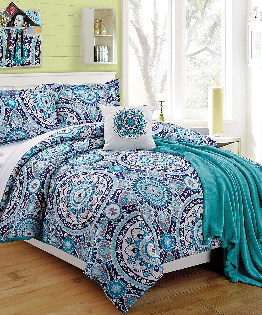 Blue Emblem Four Piece Twin Xl Comforter Set Comforters