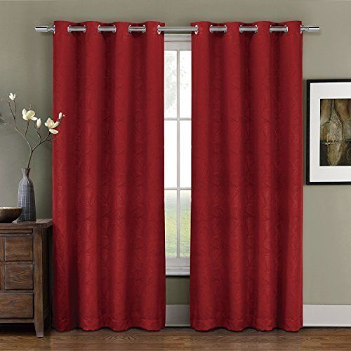 Prairie Red Grommet Blackout Weave Embossed Window Curtain Panels
