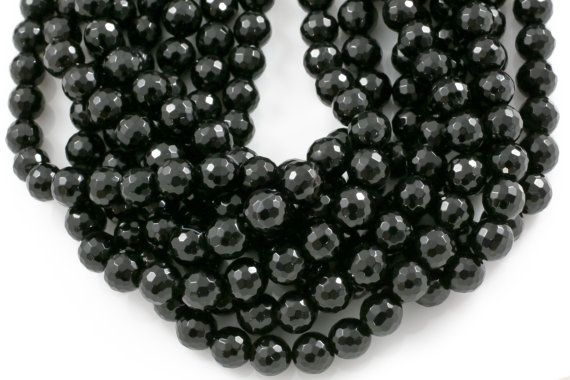 """Natural 10mm Fine Black Agate Onyx Gemstone Necklace 18/"""" AAA"""