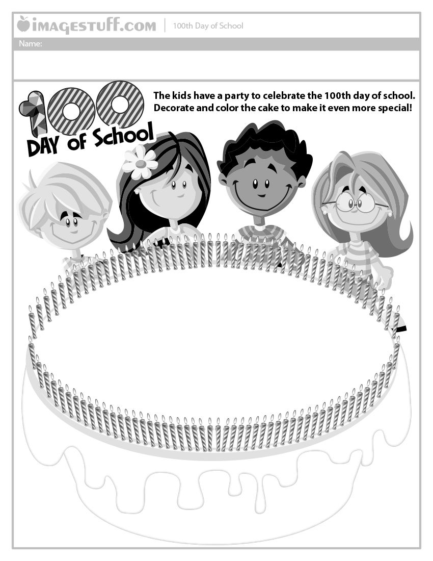 100th Day of School - Cake Worksheet (http://www.imagestuff.com ...